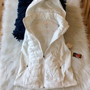 White Puffer Jacket Vest Hooded Zip New Womens S